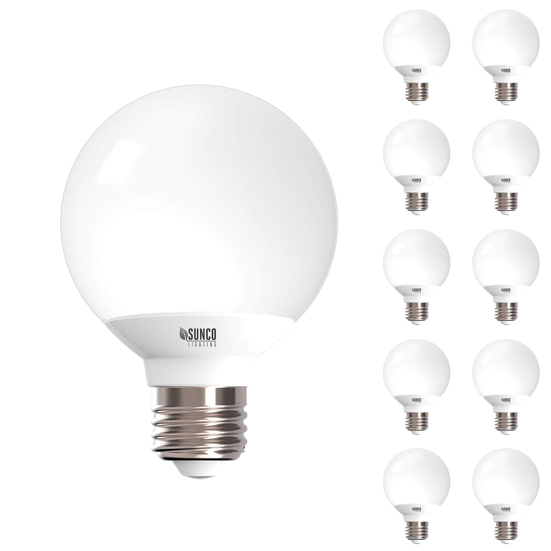 Sunco Lighting 10 Pack G25 LED Globe, 6W=40W, Dimmable, 450 LM, 5000K Daylight, E26 base, Omnidirection Bulb for Vanities, Lamps, Light Fixtures - UL & Energy Star