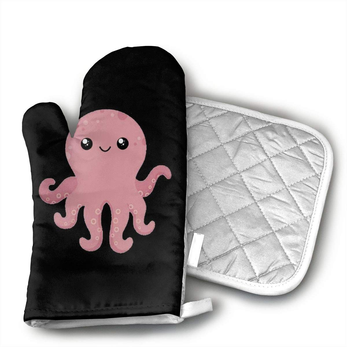 UYRHFS Pink Octopus Printed Oven Mitts and Pot Holder Kitchen Set with, Heat Resistant, Oven Gloves and Pot Holders 2pcs Set for BBQ Cooking Baking