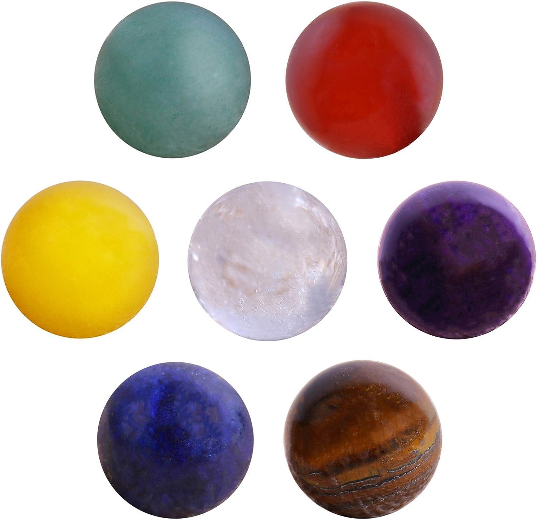 Morella 7 cuentas de piedra engastadas 16 mm cuentas de gema para los colgantes del collar en la bolsa de joyería