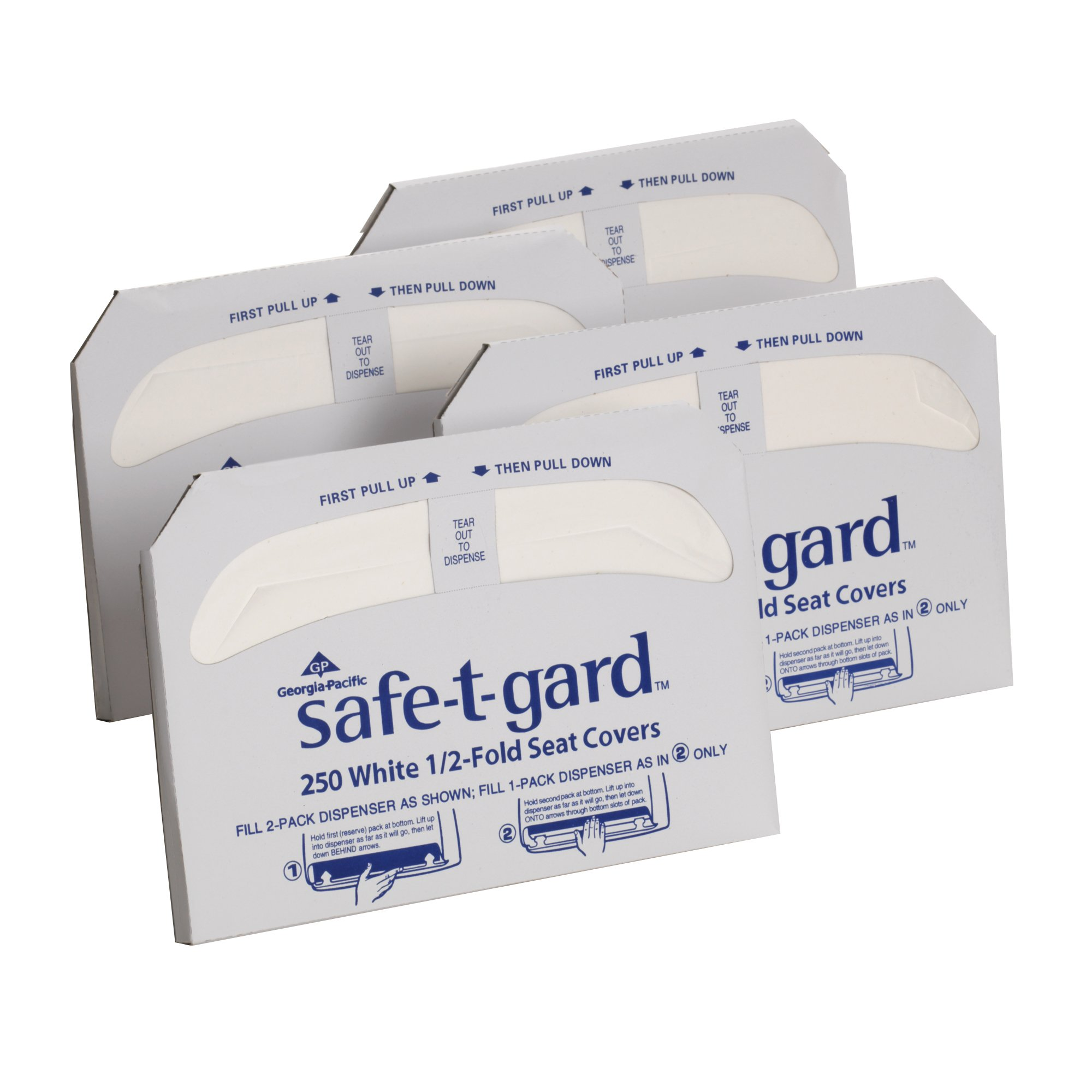 """Georgia-Pacific Safe-T-Gard 47052 White 1/2-Fold Toilet Seat Cover, 17.44"""" Length x 14.5"""" Width (Case of 4 Packs, 250 Per Pack)"""