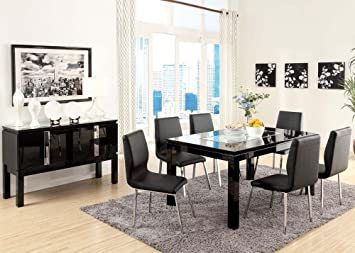 Acme 70985 Modern Prisca Black Finish W Mirror Insert Dining Table Set Amazon Ca Home Kitchen