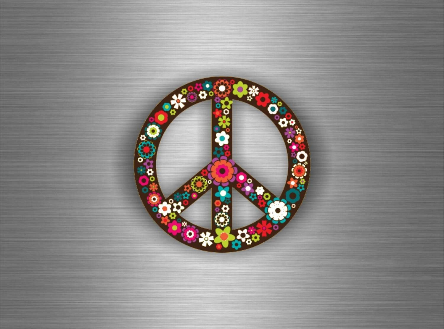 Autocollant sticker voiture moto tuning peace and love drapeau fleur