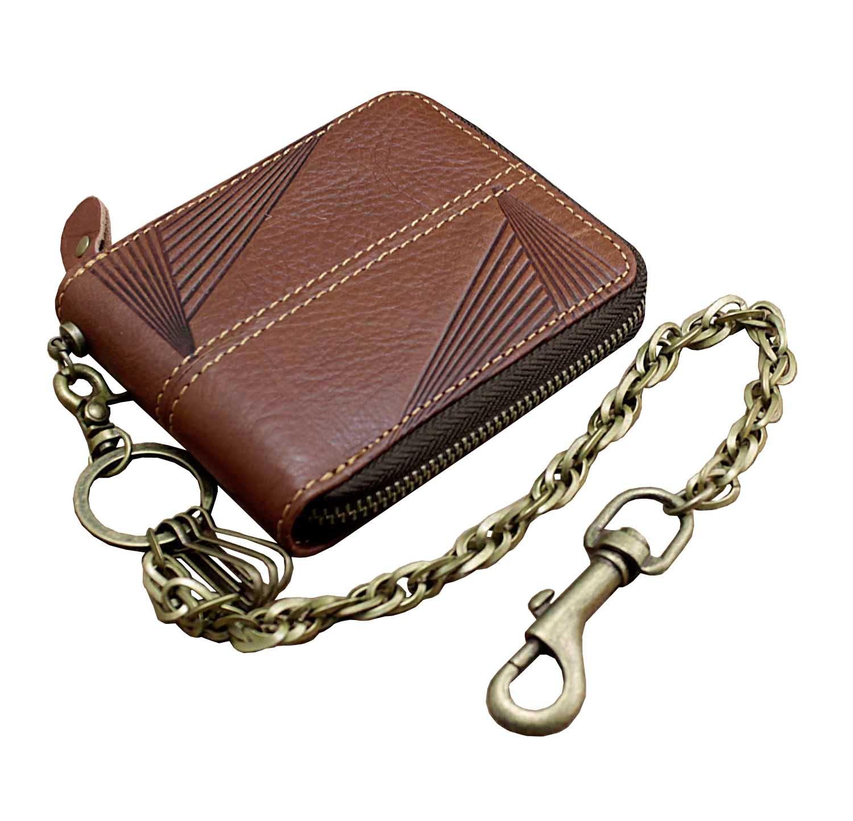 Vintage Leather Mens Zipper Card Holder Money Biker Wallet With Safe Chain #354