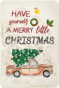 Tin Signs Vintage - Have Yourself A Merry Little Christmas Red Truck - Metal Sign for Cafe Home Bar Pub Coffee Beer Kitchen Bathroom Door Garden Funny Wall Decor Art 8