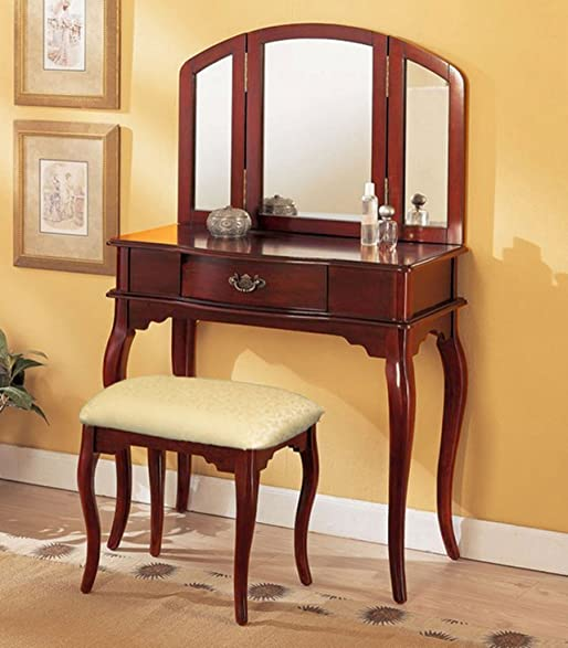 Inspirational Cherry Vanity Set with Stool