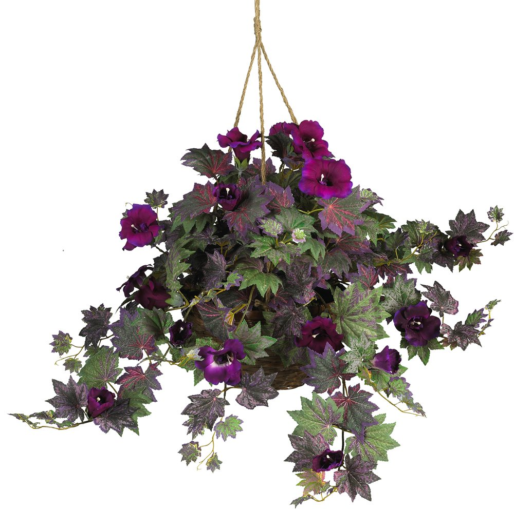 Nearly Natural 6610 Morning Glory Hanging Basket Decorative Silk Plant, Purple by Nearly Natural