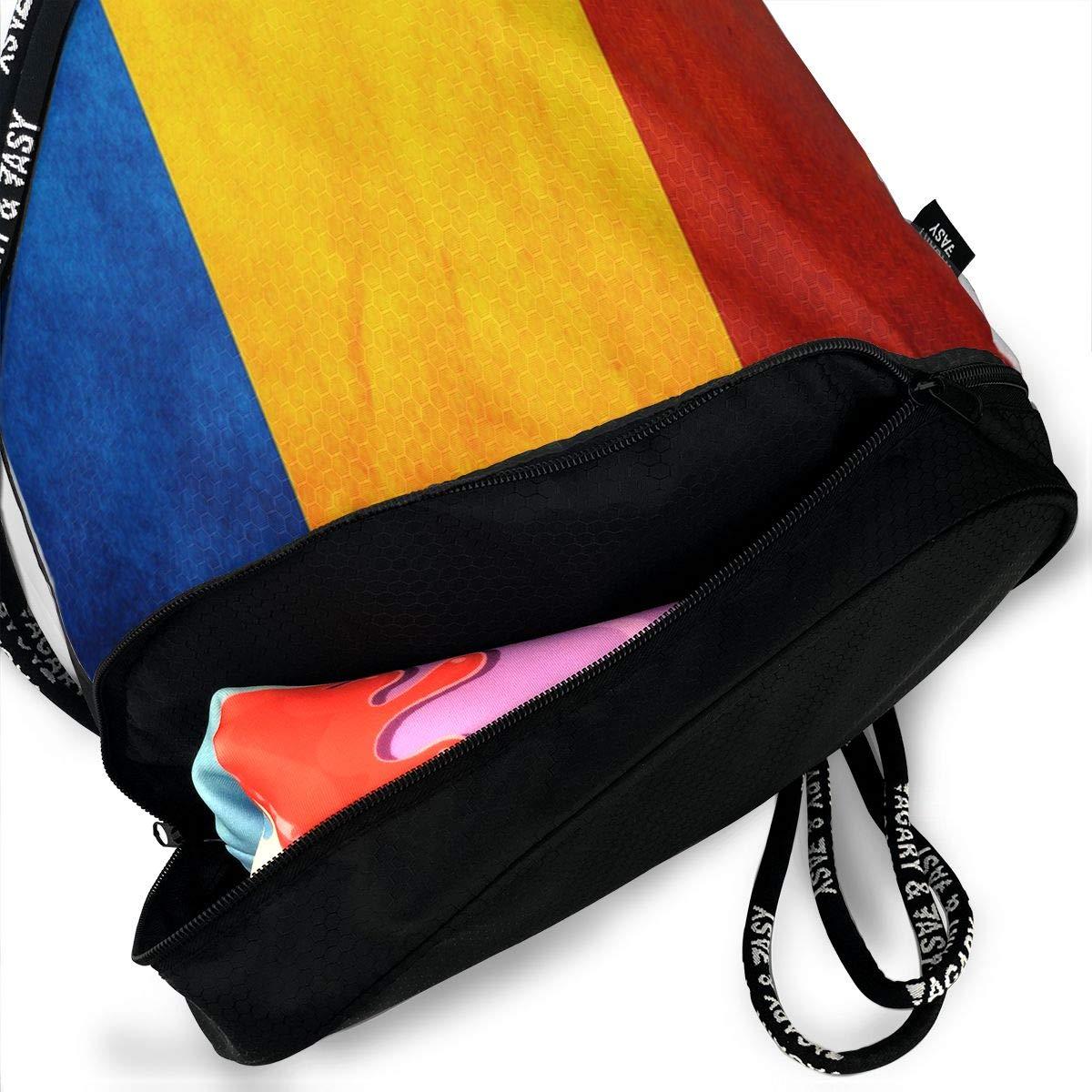 X-JUSEN Print Chad Flag Multi-Function Drawstring Bundle Backpack Burst Sackpack Gym Bag Pocket Daypack Tote Cinch Sack