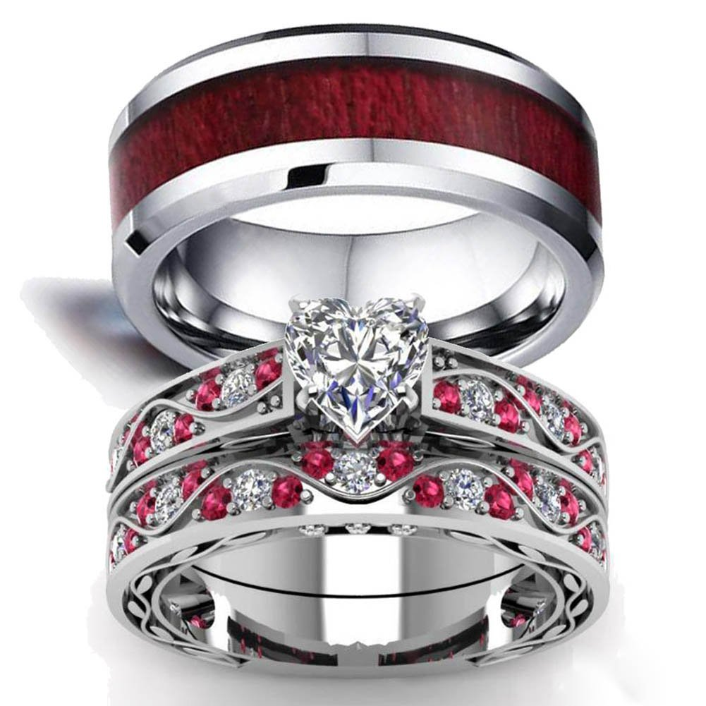 LOVERSRING Couple Ring Bridal Set His Hers White Gold Filled Heart cz Wedding Ring Band Set