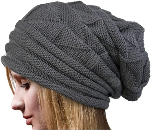 Malloom Las mujeres invierno Crochet sombrero lana tejer gorro ...
