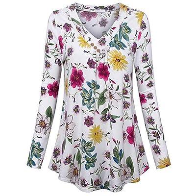 TIREOW Blusen Frauen Übergröße Langarm Print V-Ausschnitt Taste Pullover Tops Shirt