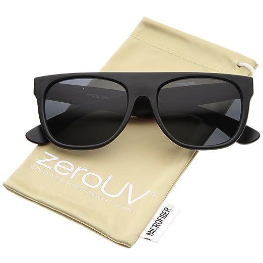 395419e205a8 Modern Super Flat-Top Wide Temple Horn Rimmed Sunglasses 55mm (Matte Black /Smoke