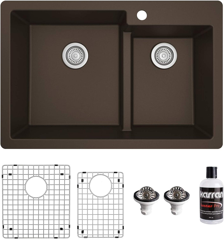 Karran Qt 811 33 Top Mount Large Small Bowl Quartz Kitchen Sink Kit Brown Amazon Com