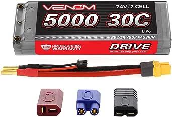 Venom 30C 2S 5000mAh 7.4V Hard Case LiPo Battery ROAR Approved with Universal Plug (EC3/Deans/Traxxas/Tamiya)