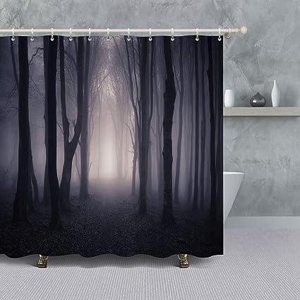 Halloween Decor Shower Curtain Spooky Forest With Dead Trees Fog Path Through A Dark