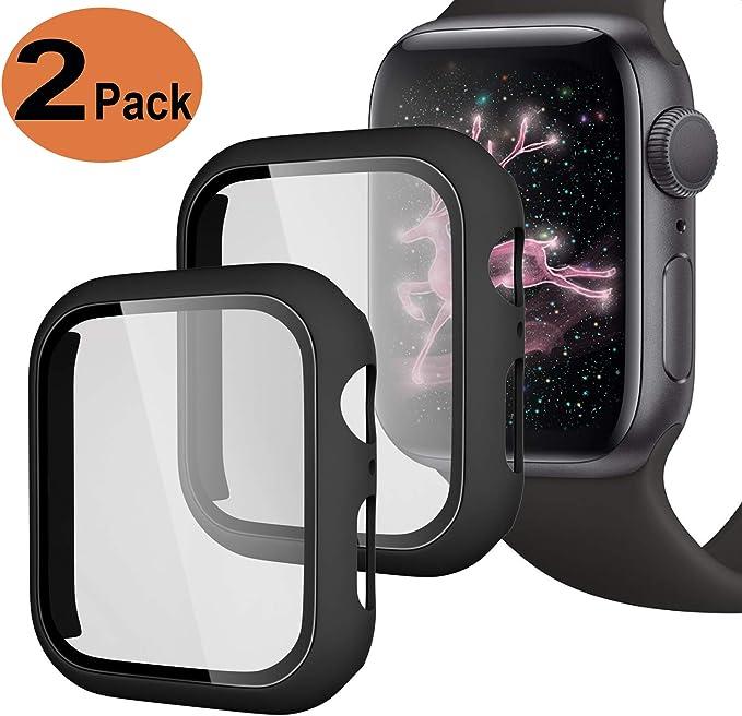 Image of Upeak Compatible con Apple Watch Series 4/5 40mm Funda con Vidrio Templado, 2 Piezas Caja Protectora para Mujeres Hombres Compatible con iWatch 4 5, Mate Negro