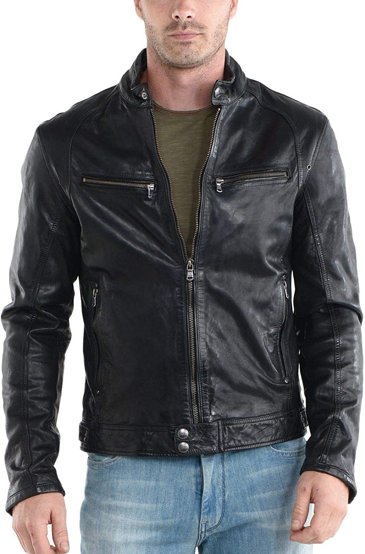 Travel Hide Mens Leather Jacket Motorcycle Genuine Lambskin Biker Jacket TM036