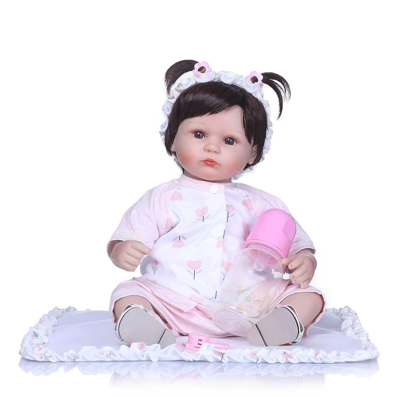 Nicery Reborn Baby Muñeca Suave Simulación Silicona Vinilo 18 pulgadas 42-45 cm Niños Amigo Magnético Boca Lifelike Juguete Boy Girl con Traje para Acción de Gracias, Negro, Viernes Navidad, Día de Navidad, Rosa y
