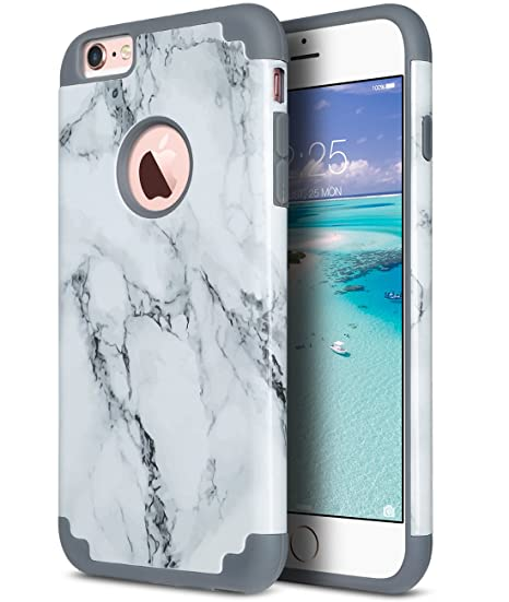 quality design 09c3c e0ea4 ULAK iPhone 6 Plus Case, iPhone 6S Plus Case, Slim Dual Layer Soft Silicone  and Hard Back Cover Anti Scratches Bumper Protective Cover for Apple ...