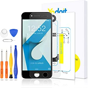for iPhone 7 Touch Screen Replacement - Yodoit LCD Display Digitizer Glass Full Assembly with Small Parts Camera Proximity Sensor Earpiece Speaker 3D Touch + Tool (4.7 inches Black)
