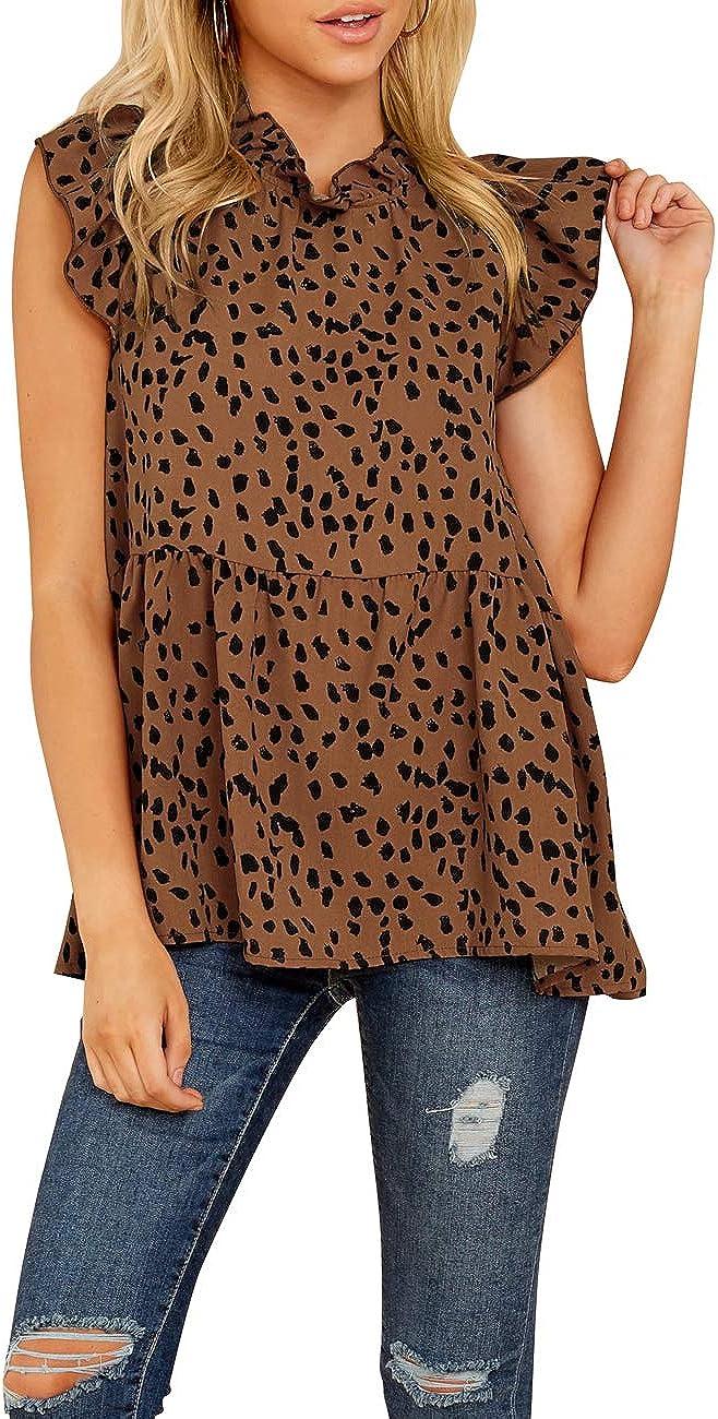 LilyCoco Womens Leopard Print Ruffle Babydoll Blouse Casual Short Sleeve Tunic Shirt Peplum Tops