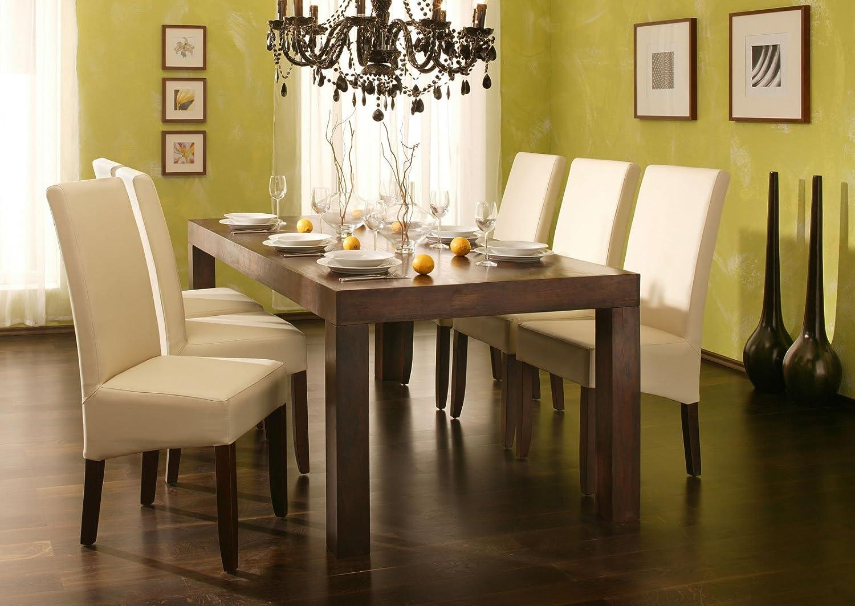 SAM 7tlg. Esszimmer Tischgruppe Cubus, Tisch aus Sheesham