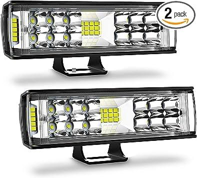 Autofeel LED Light Bar 2PCS 7 Inch 60W LED Pods Flood Spot Beam Combo Off Road Driving Fog Light for Truck ATV Boat