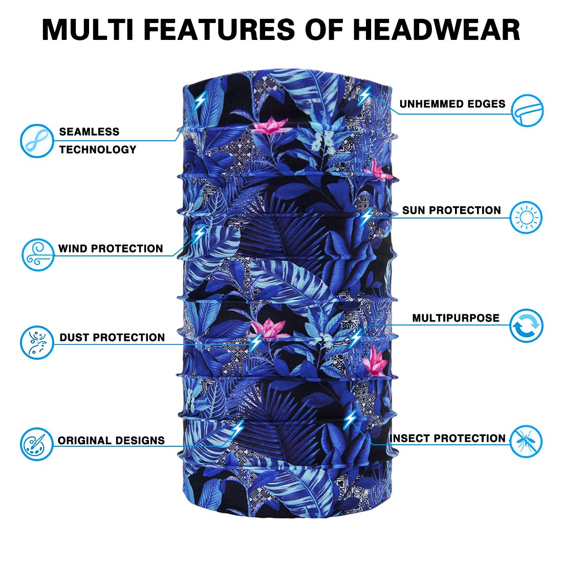 TUONROAD 3D Printed Floral Blue Leaves Pink Flowers Magic Headband Sweatband Custom SPF Scarf Tube Snood Face Bandana Multifunctional Headwear for Snowboarding Skiing Snowmobile Riding Yard working