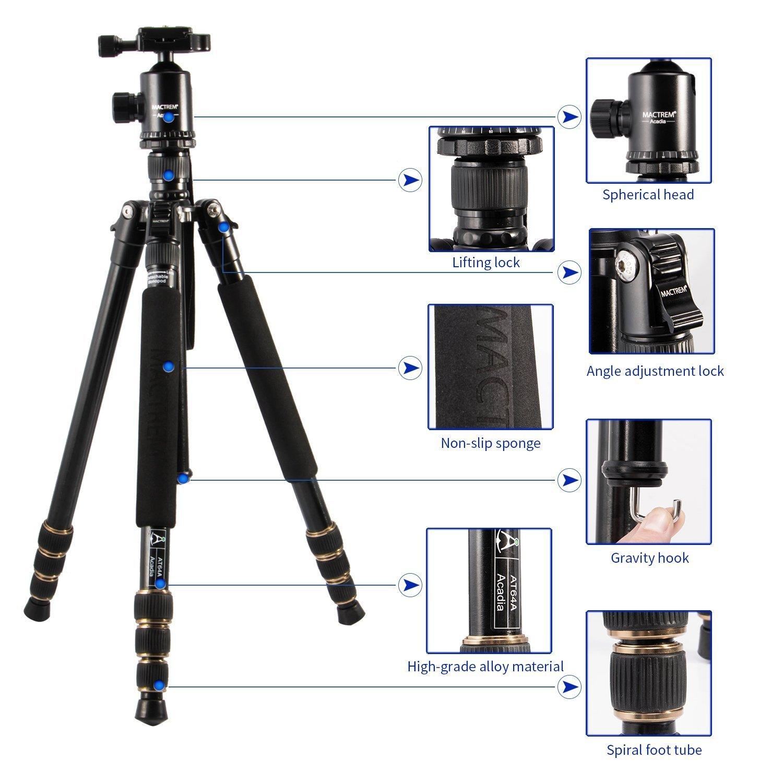 Tragbares Aluminium und Magnesium Kamerastativ Mactrem AT64, 163,8cm (64.5''), abnehmbares Einbeinstativ, 360 Grad Kugelkopf, 63,5cm (¼'') Schnellwechselplatte und Tragetasche für Digital/Video/Spiegelreflex Kameras – 15kg (33lbs) maximale
