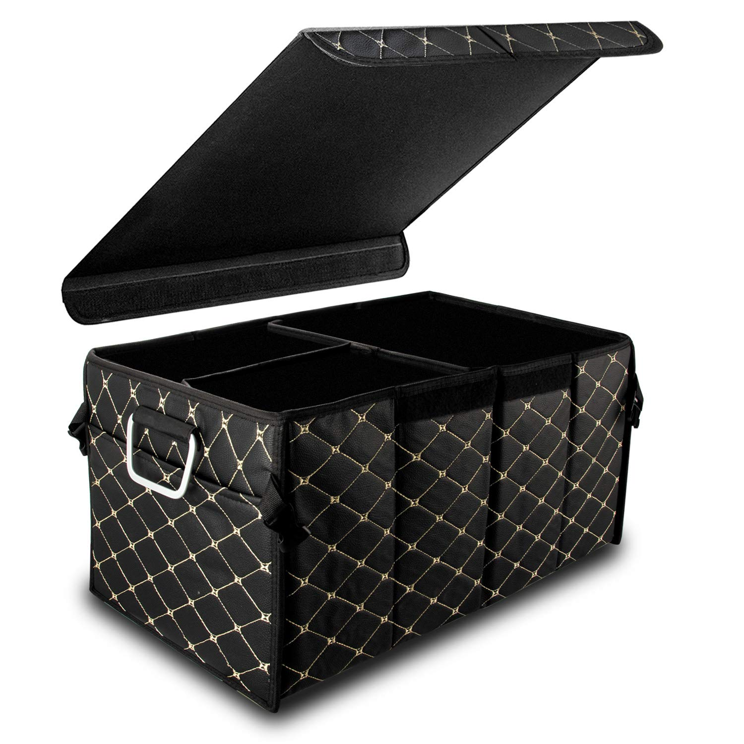 DZG Car Boot Organiser Trunk Container Storage Box Foldable Tail Tidy Collapsible Waterproof Durable Leather Universal Indoor Outdoor Small