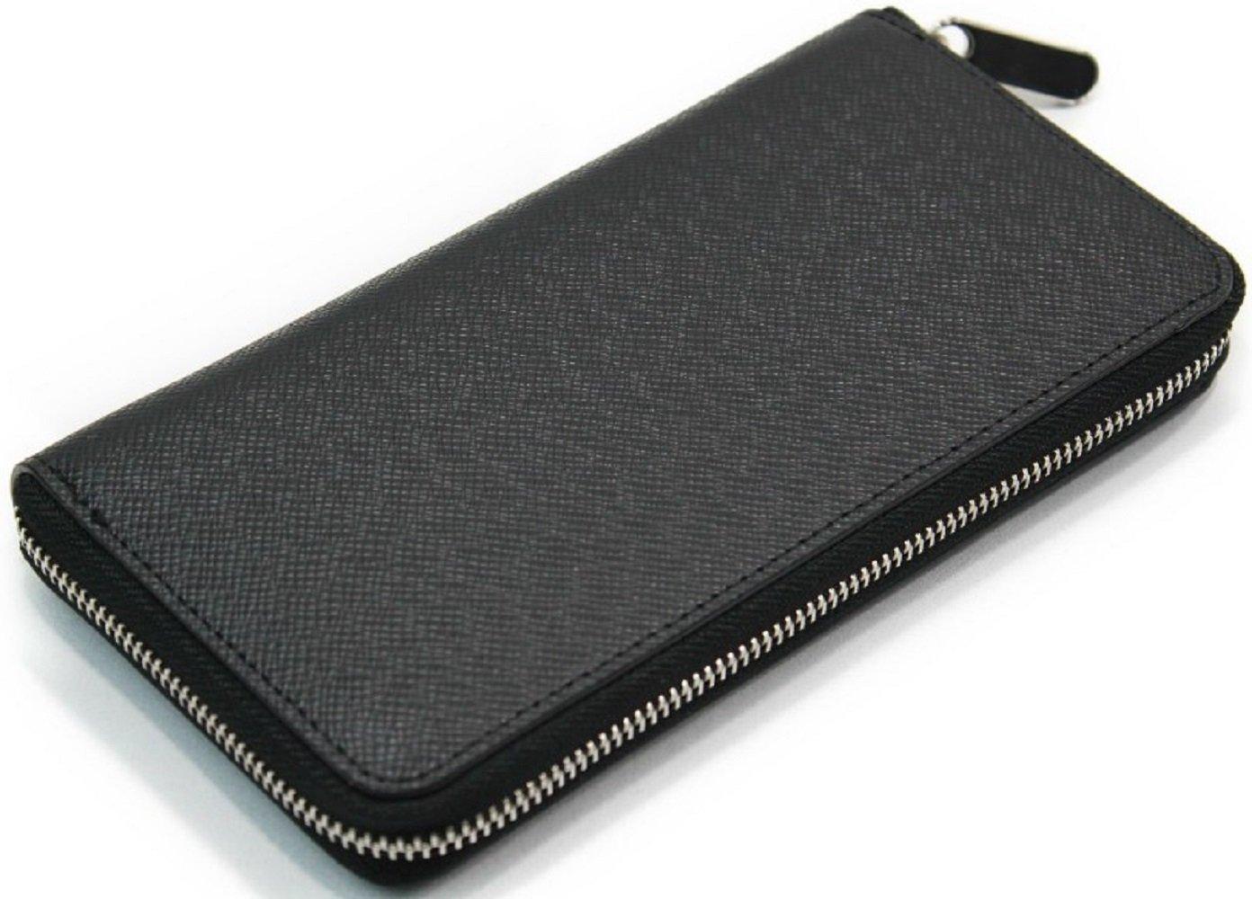 【Shikyou】 Stylish Men's Round Fastner Wallet Purse Embossing (Black) by Shikyou