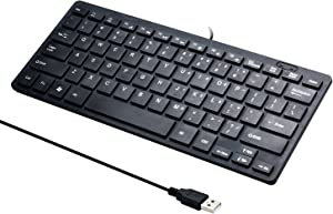Mini 78 Keys Wired Keyboard - with Keyboard Cover Computer keypad for Laptop MAC Windows 10/8 / 7 / Vista/XP(Black+Keyboard Film)