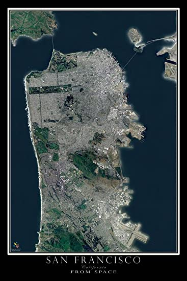 Amazon.com: San Francisco California From Space Satellite ... on solar map of california, detailed map of california, street view of california, hotels of california, wi-fi map of california, forecast of california, education map of california, topographic map of california, city of california, sky map of california, aerial photograph of california, entertainment map of california, large map of california, humidity of california, military map of california, atlas map of california, food of california, earth map of california, travel of california, traffic map of california,