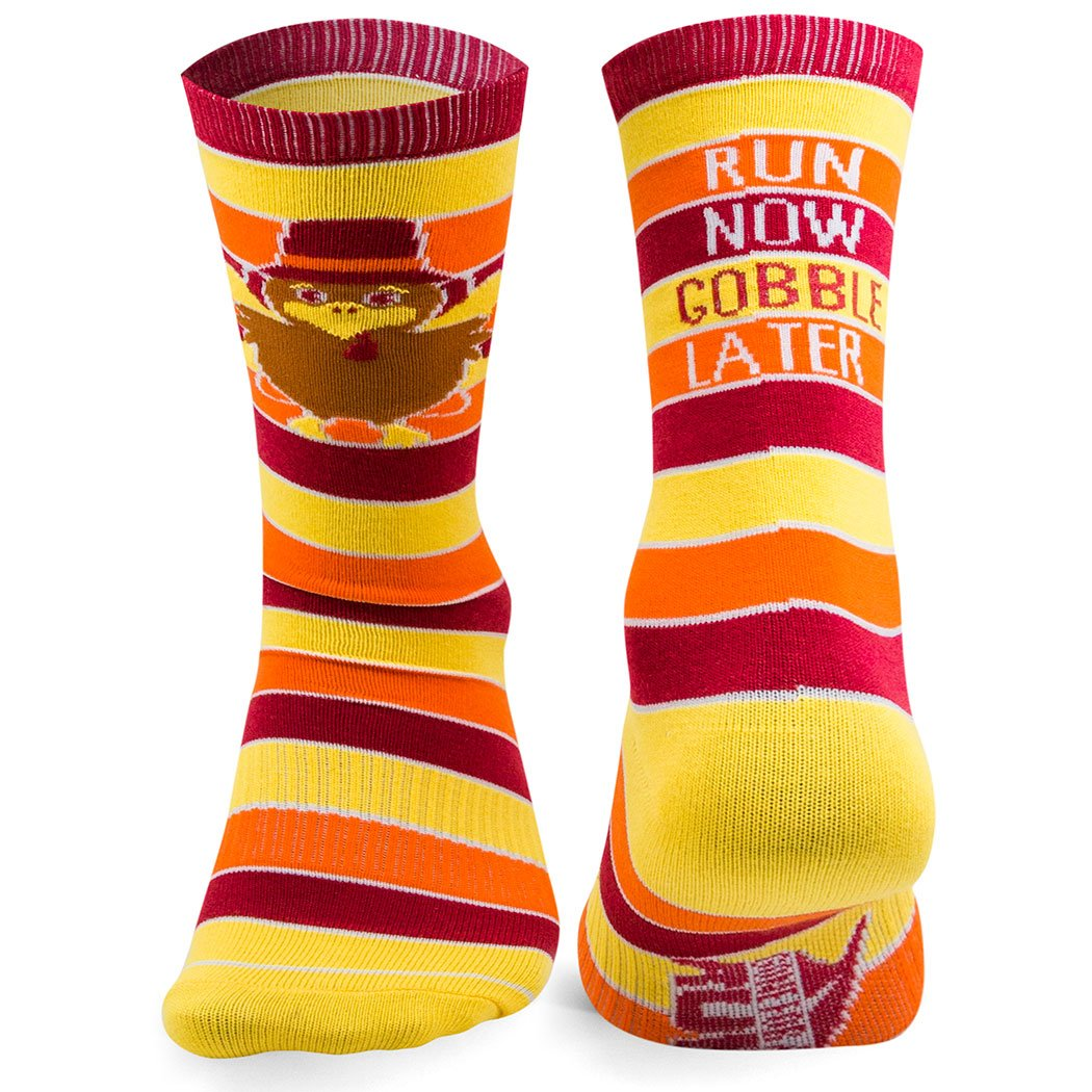 Run Now Gobble Later (Yellow/Orange/Brown) Printed Mid Calf Socks | Running Socks by Gone For a Run | Multiple Sizes TR-19553