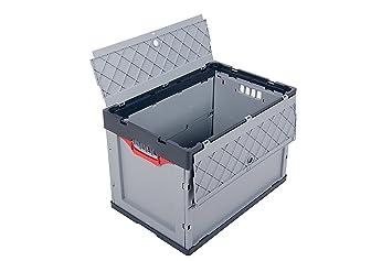 2x Faltbox mit Deckel im Set Univerlsabox klappbar Stapelbox Faltkisten schwarz