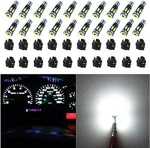 WLJH Canbus Super Bright Pc74 Twist Lock Socket T5 2721 286 73 74 Led Powerful 7Smd 4014 Chip Instrument Panel Cluster Lights Gauge Dash Indicator Light Bulb Kits 12V White - 20 Pack