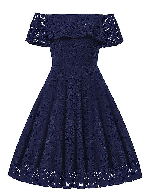Gigileer - Vestido retro de encaje para mujer, de estilo años 50, con los hombros descubiertos y largo hasta las rodillas, para salir de noche o ir a una ...