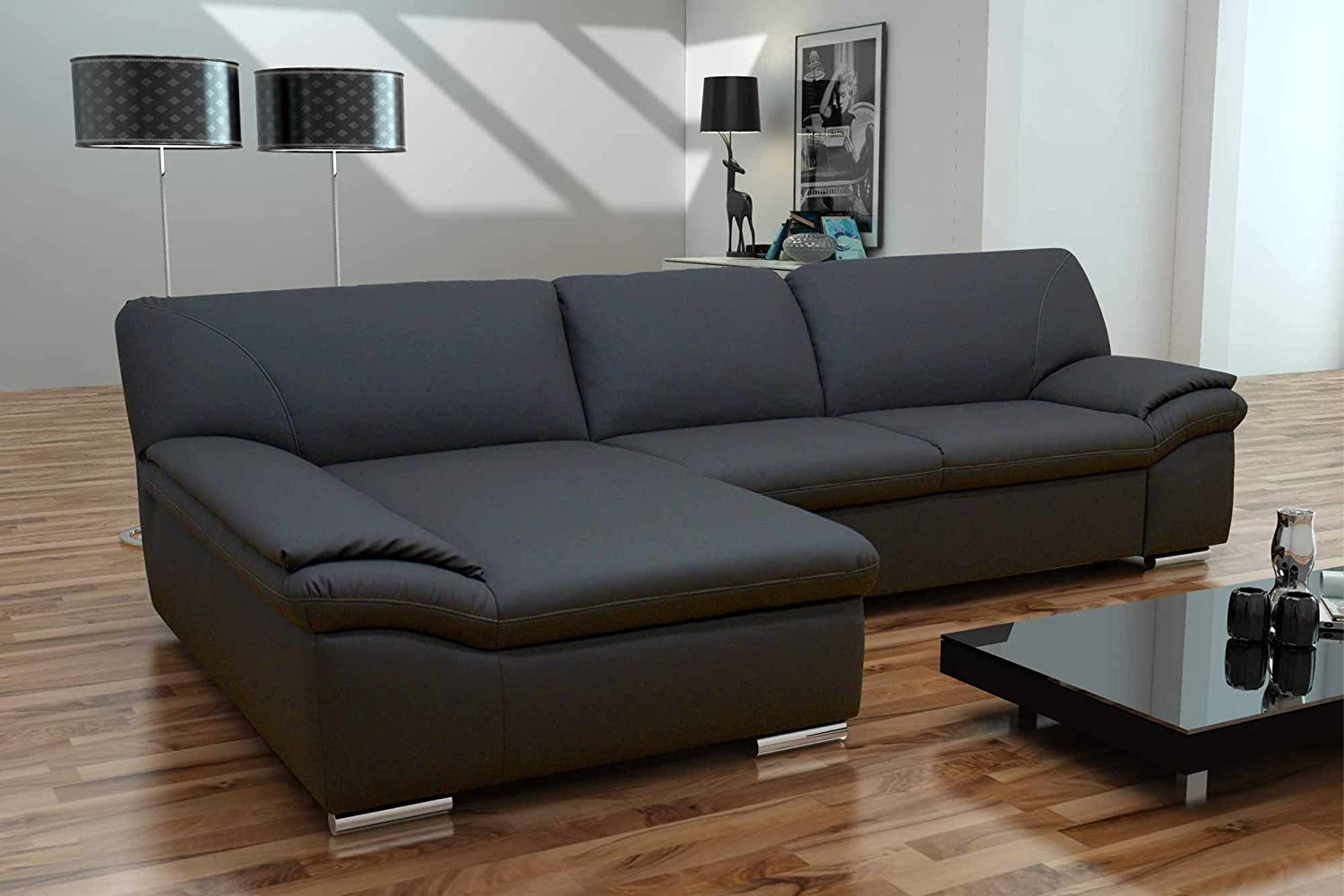 sofa ecksofa sofaecke ottomane schwarz polsterecke eckcouch couchgarnitur. Black Bedroom Furniture Sets. Home Design Ideas