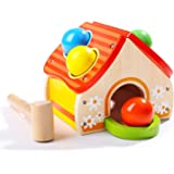 TOP BRIGHT Wooden Pounding Toys for Toddlers with Hammer and 4 Balls Gifts for 1 2 Year Olds Boys Girls