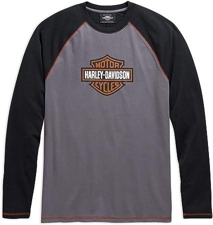 HARLEY-DAVIDSON Camiseta de Manga Larga con Logotipo Hombre, Color Gris: Amazon.es: Ropa y accesorios