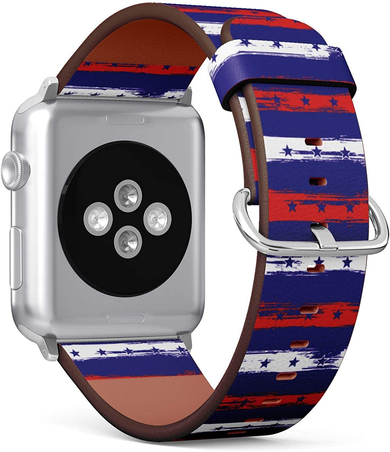 (4th July Stars and Stripes Retro Pattern in USA Flag Colors) Patterned Leather Wristband Strap for Apple Watch Series 4/3/2/1 gen,Replacement for iWatch 38mm / 40mm Bands