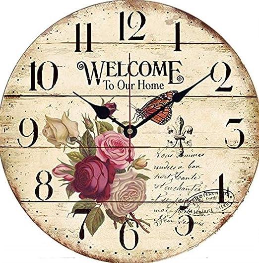 Relojes de Pared Jardín de la Sala de Estar del jardín del país Europeo Reloj de Pared de Madera Decorativo Simple Reloj de Pared de la Serie Rose (Pattern : 3): Amazon.es: