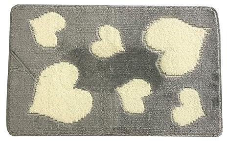 Set tappeti bagno antiscivolo 3pz fantasia cuori fiori cuori grigio