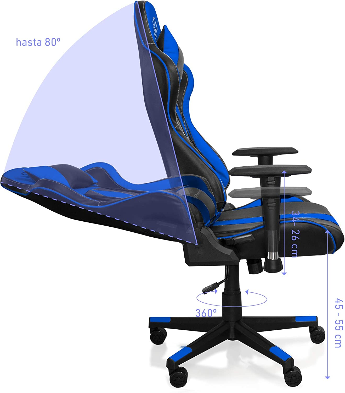 Soporte Lumbar y Cervical reposabrazos 2D Silla Gaming de Escritorio Phoenix Technologies Oficina Ajustable en Altura y giratoria Azul