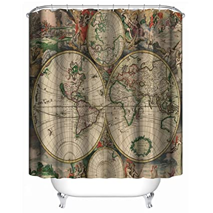 I Choice Old World Map Shower Curtain Vintage Curtains With 12