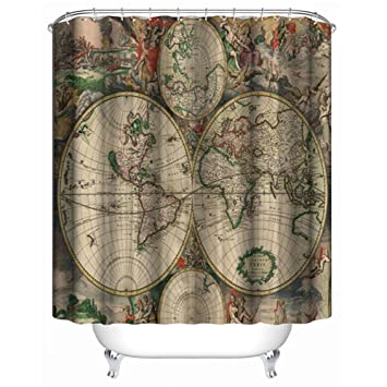 Amazon Com I Choice Vintage World Map Shower Curtains With 12 Pcs