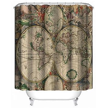 Amazon Com I Choice Vintage World Map Shower Curtains With 12 Pcs