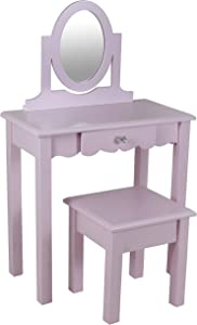 Decor Therapy Vivian Soft Pink Vanity with Mirror, 22x12x36