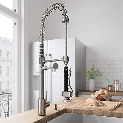 VIGO VG02007ST Zurich Single Handle Pull-Down Sprayer Kitchen Sink Faucet,  Centerset Single Hole Faucet, Commercial-Style Design, Premium Stainless ...