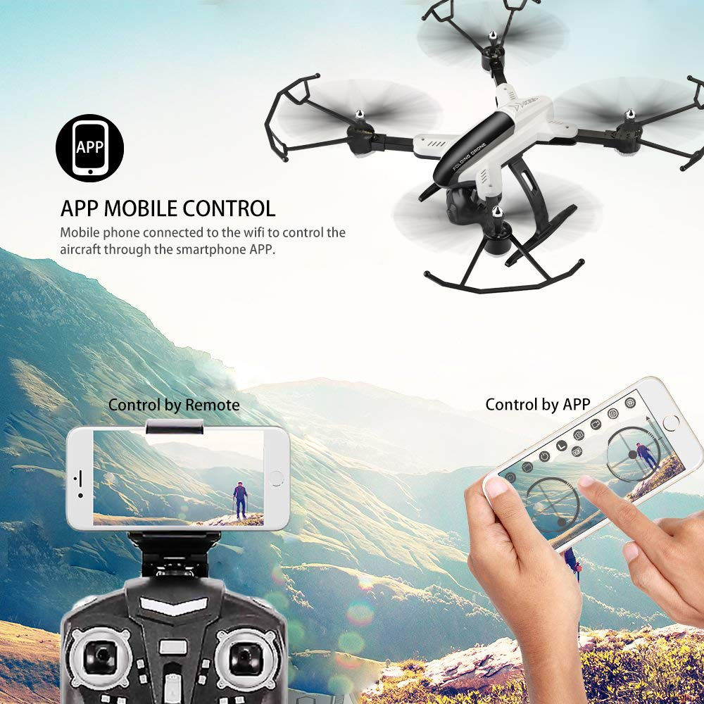 DAZHONG Foldable Drone with Camera Live Video 1080P HD FPV WiFi RC  Quadcopter Drone for Adults Beginners with APP Control Altitude Hold and  One Key