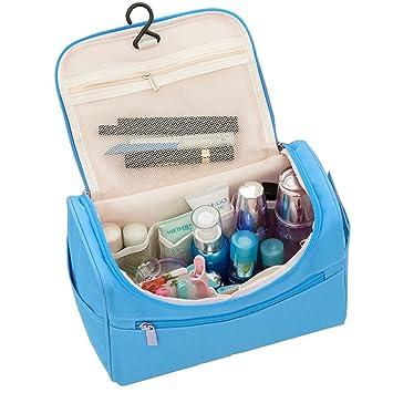 Bolsa de Viaje Neceser Maquillaje Bolsa Cosmético Organizador Bolsas de Aseo Neceseres Viaje Grandes con Asa y Gancho (Azul)